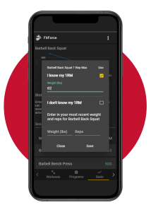 1RM screenshot - Fitforce